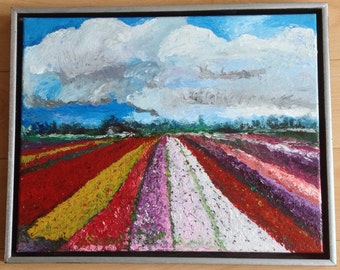 Dutch tulips field