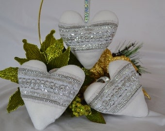 White Blingy Heart Ornament