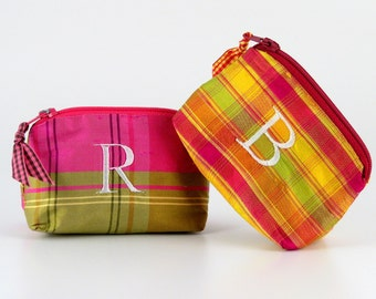Personalized Plaid Silk Coin Purse // Plaid Lipstick Case // Personalized Coin Purse