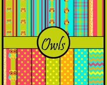 Owl digital scrapbook paper pack pink lime green teal orange and yellow coordinating paper pack  polka dots chevron owls stripes