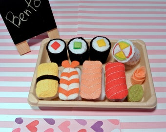 Handmade Felt Sushi Set - Roll Combo and Bento Combo. Felt Foods, Felt Toys, Felt Sushi, Toy Food, Kids Toy, Gift for kids, Play food