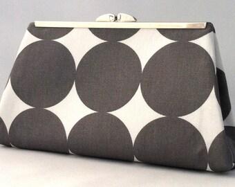 Gray and White Clutch ~ Gray Retro Clutch ~ Gray Bride or Brides Maid Silver Purse ~ Gray and White Handbag ~ Gray Handbag ~ Small Gray Bag