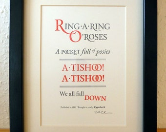 Ring-A-Ring-O-Roses - A5 Letterpress Typographic Print