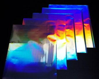 5 Sheets Holographic Silver Heat Toner Laser Foil - 8 x 10 inches - Toner Transfer, Reactive Foil, Fusing Foil, Foiling, Laser Foil, Minc