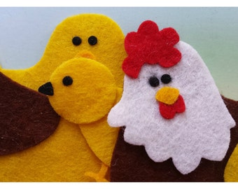 Felt Chicken Family, Die Cut Craft Embellishments