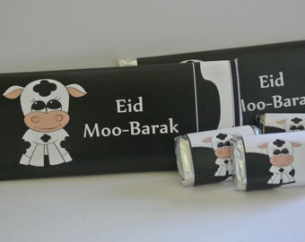 Eid decor, cow party, Eid ul adha, personalized candy wrappers, farm party favors, Islamic gifts, Ramadan, Eid decor, cow print, Eid party