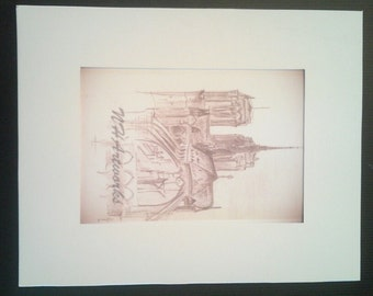 Paris Notre Dame- Drawing Illustration Print