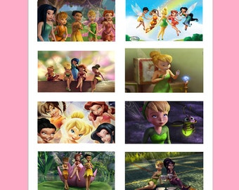 8 Printed Tinkerbell Stickers, Birthday Party Favors