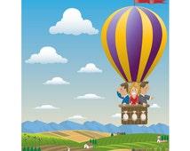 Naive Art, Naive Print, Hot Air Balloon Poster, Hot Air Balloon Print, Vintage Poster, Colonial Print, Colonial Art, Landscape Scenery