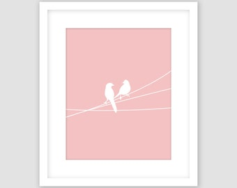 Birds on a Wire Print, Rose Pink and White, Animal Wall Art, Modern Art, Instant Download, DIY, Printable