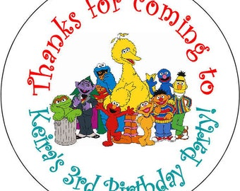 Sesame Street Elmo Cookie Monster 1st Theme Birthday Party Stickers 2.5 inch Round Personalized kids