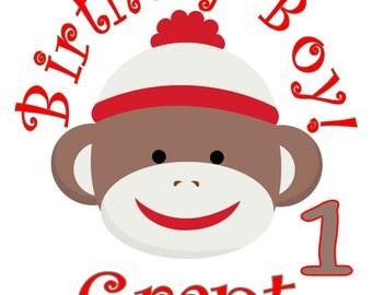 Retro Sock Monkey Personalized Birthday Party T Shirt Tee Boys Girls 1st 2 3 4 5 6 7 8 9