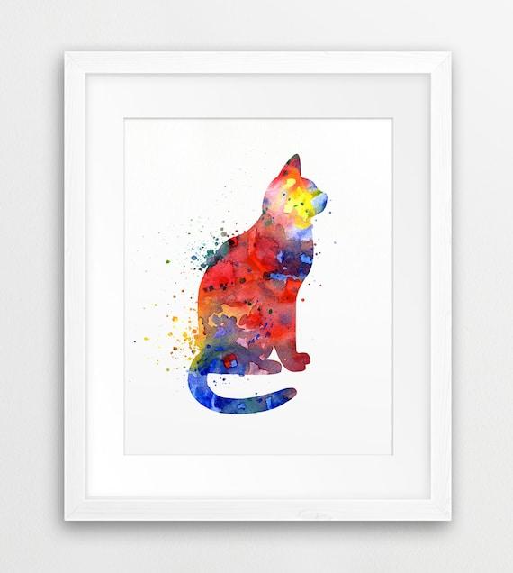 Cat Watercolor Print Cat Silhouette Colorful Watercolor Red