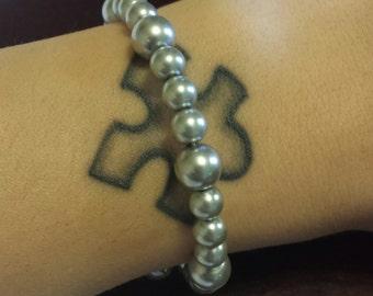Faux Pearl Wire Wrap Bracelet
