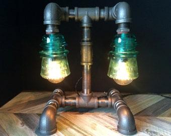 Twin glass insulator pipe desk lamp green light for Gas pipe desk lamp