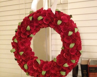 Paper flowers/Red roses/paper flowers/green leaves/red roses wreath