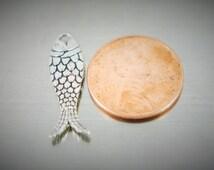34 pcs. Fine Pewter Tibetan Silver Fish Symbol Finding Charm Earring Bulk 40 grams 120 grams 240 grams