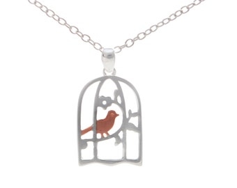Vintage Inspired Design Bird and Cage Necklace in Sterling Silver 18''