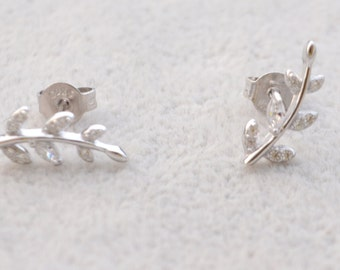 Sterling Silver  Sparkly CZ Crystal Paved Little Tree Branch Leaf Stud Earrings, Post Earrings, Nature Inspired
