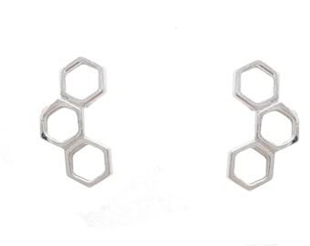 Sterling Silver Honeycomb Hexagonal Geometry Design Stud Earrings e1