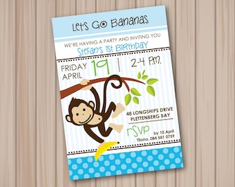 Blue monkey personalised invitation
