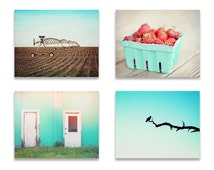 Farmhouse Wall Art, Rustic Wall Decor, SET of FOUR Prints or Canvases, Farmhouse Decor, Turquoise Wall Art, Turquoise and Red Decor