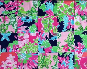 20 Squares of Assorted 2015 Lilly Pulitzer Fabrics 5x5 Lot2