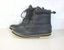 50%OFF Sep23-26 mens snow boots size 12, 80s black boots, thermolite insulated waterproof boots, rain boots, rubber leather boots, size 12 b