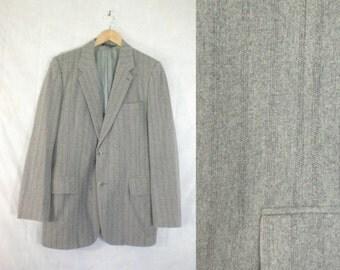 mens striped blazer size 40L, gray wool blazer, 70s blazer, 1970s preppy mens blazer, mens sports coat jacket, mad men