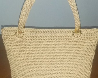 Crochet hand made bag,Formal bag,Beige color,Ready to ship !!