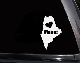 "Maine, Love Maine, Heart Maine, I love Maine, Automobile Vinyl Decal,  Sticker, Free US Shipping, 7"" X 4.5"""