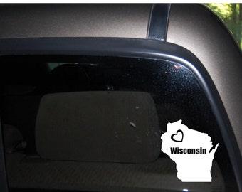 "Wisconsin, Love Wisconsin, Heart Wisconsin, I love Wisconsin, Car/truck Vinyl Decal, Sticker, Free US Shipping, 4.8"" X 5.2"""