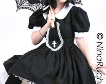Gothic Lolita Dress - Schoolgirl Dress - Goth Loli Dress - Black Dress - Goth Dress - Gothic Dress - Cosplay Dress - Custom size- Plus Sizes