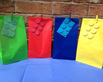 Lego party bags complete with pegged gift tag