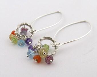 Chakra Earrings Sterling Silver Large Wire Earrings Seven Gemstone Earrings Hammered Ring Earrings Chakra Jewelry