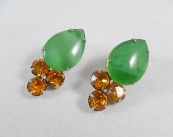 Vintage 1980s  Large Green Teardrop Stone Amber Crystal Clip Earrings