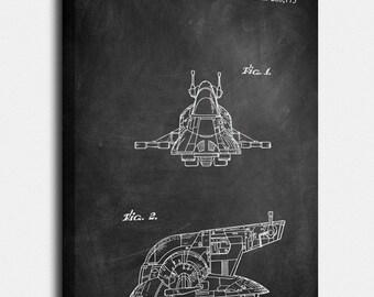 Star Wars Canvas, Slave I Patent, Slave I Vintage Art, Slave I Blueprint, Yoda Poster, Slave I Print, Slave I Wall Art, Slave I Decor