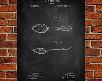 Spoon Art Print, Spoon Patent, Spoon Vintage,Spoon Blueprint, Spoon Print, SpoonPrints, Spoon Wall Art, Spoon Decor
