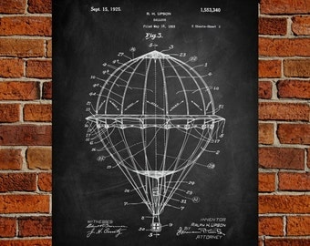 Hot Air Balloon Fine Art Print, Patent, Vintage Art, Blueprint, Poster, Wall Art, Poster, Décor