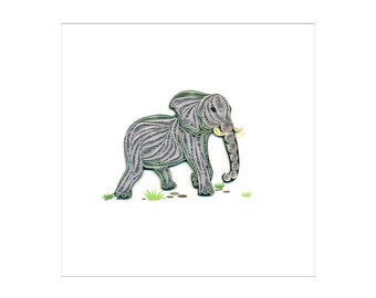 Quilled Elephant Animal Card