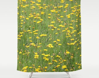Yellow Flowers,Shower Curtain,Green,Yellow,Grass,Floral,BathCurtain,Bathroom Decor,Accessories,Bathroom Art,Designer Curtain,Interior Design