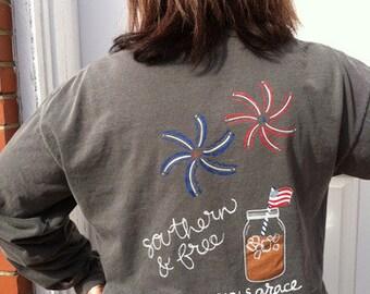 Southern & Free Charcoal Long Sleeve T-Shirt