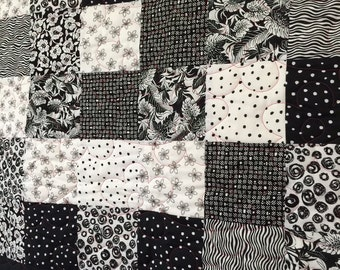 """Black and White homemade Quilted Wall-hanging 47"""" x 55"""""""