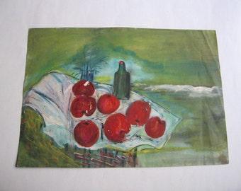 vintage original painting, still life