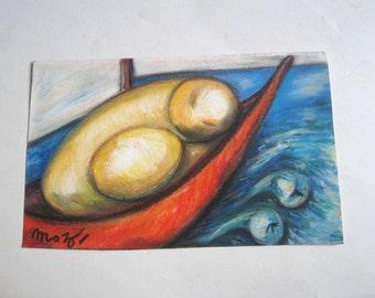 vintage original pastel painting, formalism, signed
