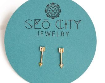 Tiny Arrow Gold Studs, Cupid, Tiny Arrow Earrings, Bow and Arrow, Small, Mini, Jewelry