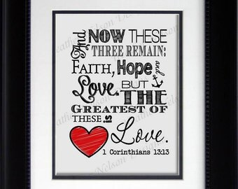 Faith Hope Love Wall Art Print- DIGITAL