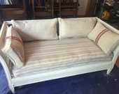 SOLD! Vintage Henredon Cane Settee, French Style, Restored/Painted, Vintage Fabric & Hemp, Grain Sack Pillows (Alexandria, VA Pick Up Only)