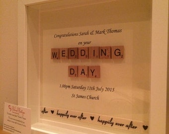 Weding Day Scrabble Frame Personalised