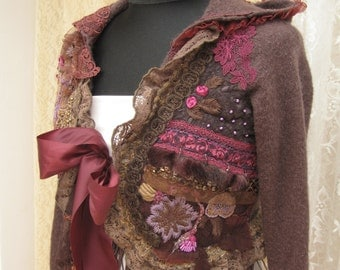 Ornate Romantic hood bolero jacket, shabby chic in browns, hand-embroidered, bead embroidered, reworked, upcycled clothing, Art to wear,